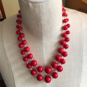 Jewelry - Double stranded necklace with red beads